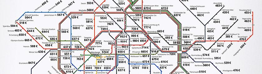 Kartta Berliinin vuokramarkkinoista