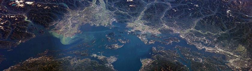 Vancouver-Seattle avaruuspanoraama
